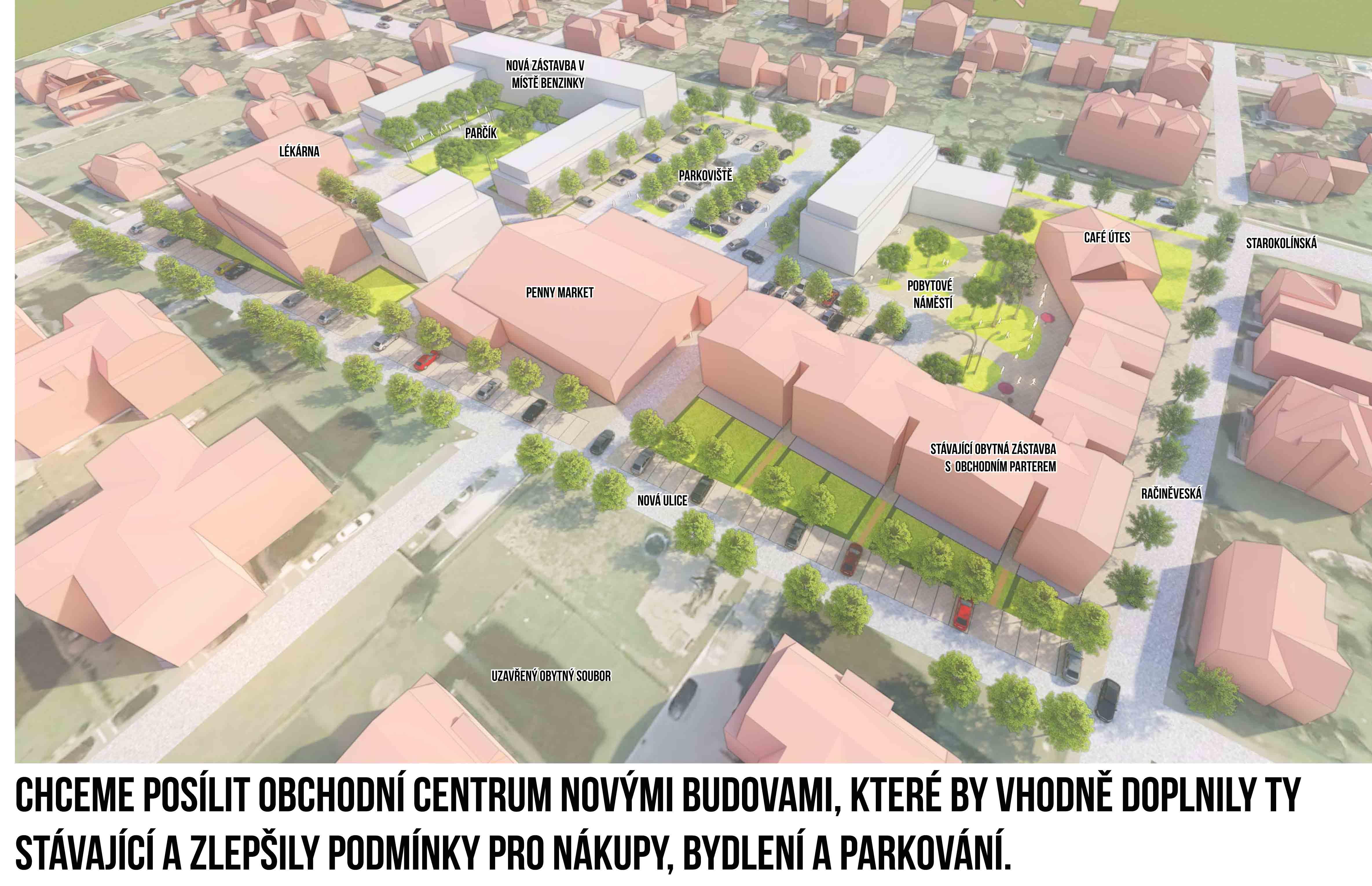 Chceme posílit obchodní centrum novými budovami, které by vhodně doplnily ty stávající a zlepšily podmínky pro nákupy, bydlení a parkování