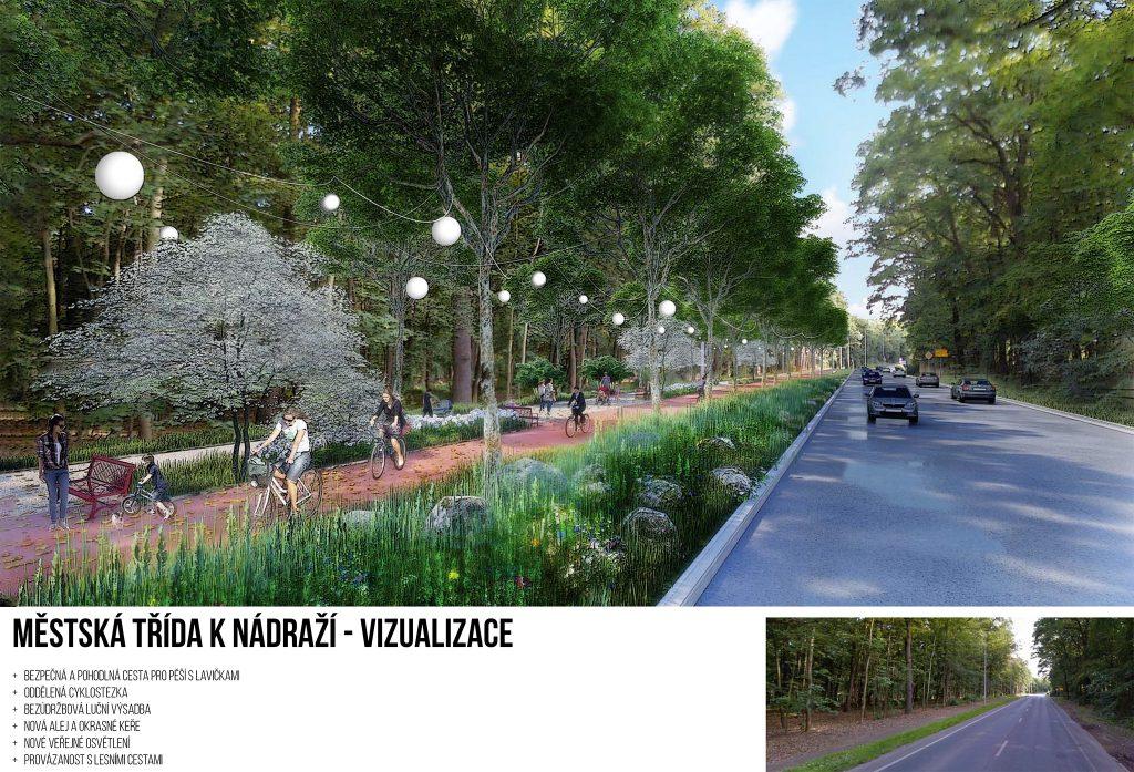 Vizualizace Městská třída k nádraží Praha 21 Újezd nad Lesy Klánovice, Piráti a STAN pro Újezd