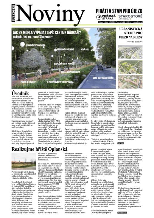 Újezdské Noviny 2020, Piráti a STAN pro Újezd nad Lesy, cesta k nádraží, hřiště Oplanská, Urbanistická studie Praha 21, PDF ke stažení.